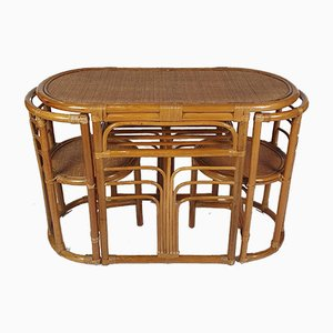 Mid-Century Bamboo and Wicker Side Table and 2 Chairs, 1960s, Set of 3
