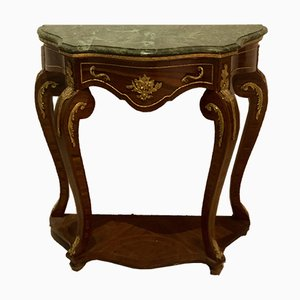 Louis XV or Transition Style Console with Marquetry, Bronze Details & Marble Top