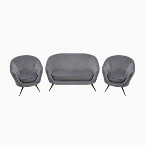 Mid-Century Modern Curved Sofa and Chairs by Federico Munari, Italy, 1950s, Set of 3