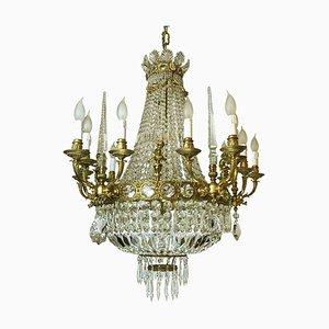 Kronleuchter im Empire Stil aus vergoldeter Bronze & Kristall mit Obelisken und Vergoldetem Putten