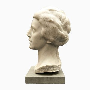 Aurelio Bossi, Bust of Woman in White Marble