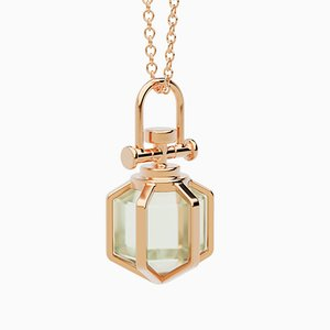 Modern Sacred 18k Solid Rose Gold Mini Six Senses Talisman Pendant Necklace with Natural Green Amethyst by Rebecca Li