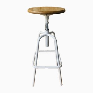Vintage Industrial Metal and Wood Stool with Adjustable Swivel Seat, 1980s