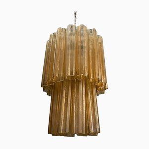 Mid-Century Golden Murano Glass Tronchi Chandelier