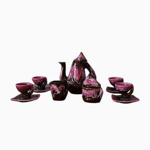Mid-Century Ceramic Coffee Set from Vallauris, 1960s, Set of 11