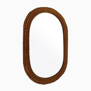 Böhmischer Ovaler Spiegel aus Korbgeflecht