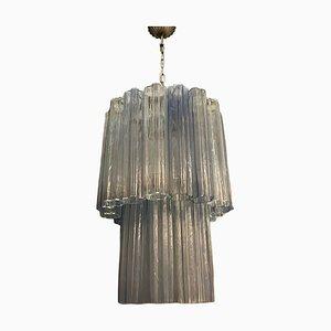 Large Mid-Century Light Blue Murano Glass Tronchi Chandelier