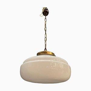 Mid-Century White Murano Glass Pendant Light