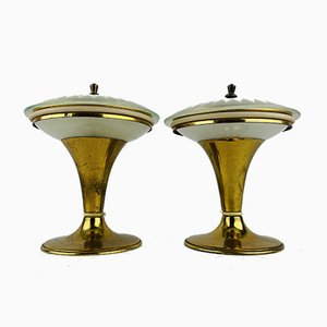 Vintage Night Lamps, Italy, 1950s, Set of 2