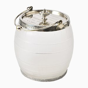 Antique Silver-Plated Barrel Biscuit Box, 1887