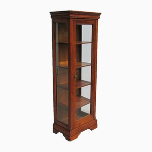Small Louis Philippe Style Showcase Cabinet in Cherry Wood, 1970s
