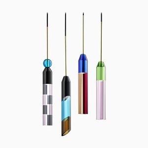Lampes à Suspension Colorées en Cristal, Cristal Sculpté à la Main, Set de 4