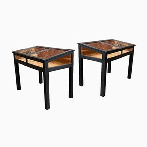 Oak Showcase Cabinets, Set of 2