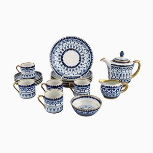 Arabia Coffee Service for Five People in Hand-Painted Porcelain, Mid-20th Century, Set of 18