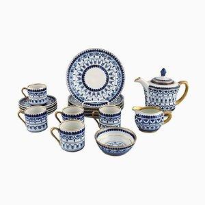 Service à Café Arabia pour Cinq Personnes en Porcelaine Peinte à la Main, Mid-20th Century, Set de 18