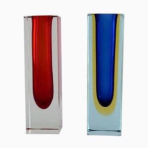 Vasi in vetro di Murano chiaro, rosso e blu, set di 2