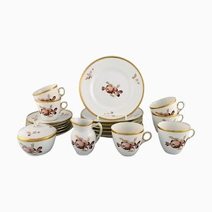 Royal Copenhagen Brown Rose Coffee Service for Six People, 1960s, Set of 20