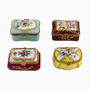 Small Porcelain Lidded Chests from Limoges, France, Early 20th Century, Set of 4