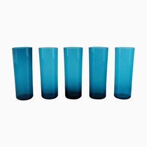 Verres en Verre Bleu par Nanny Still pour Riihimäen Lasi, Set de 5
