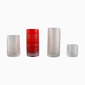 Vases in Mouth-Blown Crystal Glass by Bengt Edenfalk for Skruf, Set of 4
