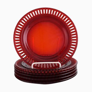 Plates in Red Mouth-Blown Art Glass by Monica Bratt for Reijmyre, 1950s, Set of 6