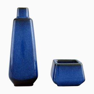 Lagun Vase and Bowl in Glazed Stoneware by Sven Jonson for Gustavsberg, Set of 2