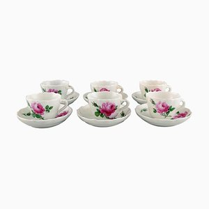 Meissen Coffee Cups with Saucers with Pink Roses, Set of 12