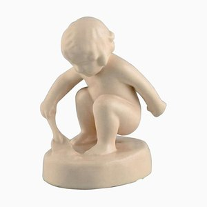Figure of Girl With Shovel in Ceramics by Adda Bonfils for Ipsens Enke, 1883-1943