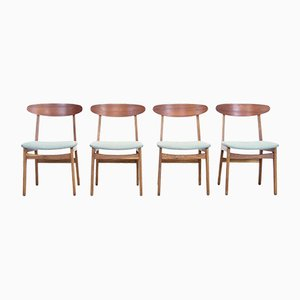 Danish Dining Chairs in Oak and Teak, Set of 4