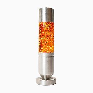 Orange Geriffelte Lava Lampe aus gebürstetem Aluminium, 1970er