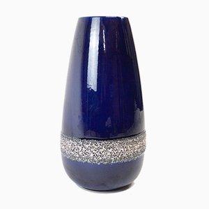 Große westdeutsche Vase aus blau glasierter Keramik, 1970er