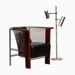 Armlehnstuhl aus Edelstahl und Leder von Bulfoni und G220 Stehlampe von Bergboms