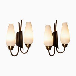 Schaltbare Italienische Wandlampen aus Messing, Metall und Opalglas, 1950er, 2er Set