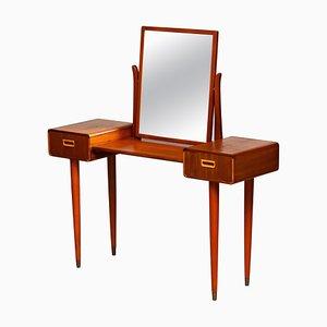Slim Mahogany Dressing Table / Vanity by Tibro, 1950s, Sweden