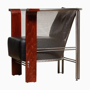 Club Chair of Mesh and Welded Stainless Steel, Leather and Wood, Italy, 1990s