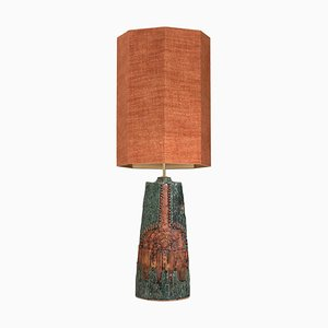 Ceramic Lamp by B. Rooke with Custom Made Silk Lampshade by René Houben, 1960s