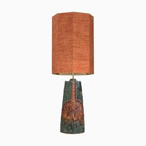Keramik Lampe von B. Rooke mit Maßgefertigtem Lampenschirm aus Seide von René Houben, 1960er