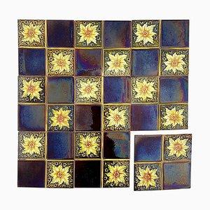 Glazed Art Deco Relief Tiles by S. A. Des Pavilions, 1930s, Set of 9