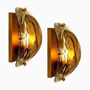 Brass and Brown Hand Blown Murano Glass Wall Lights by J. Kalmar, Set of 2