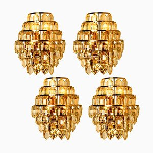 Crystal Glass Wall Sconces by Bakalowits, 1960s