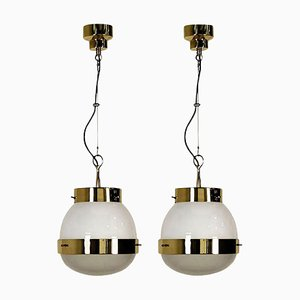 Delta Grande Pendant Light in Glass and Brass by Sergio Mazza for Artemide, 1960s, Set of 2
