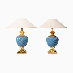 Blue and Gold Ceramic Table Lamps, 1970s, Set of 2