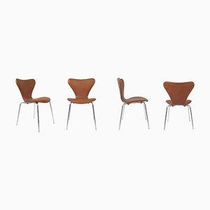 Hellbraune 7 Series Stühle von Arne Jacobsen für Fritz Hansen, 4er Set