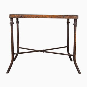 Large Square Industrial Console Table, 1940s