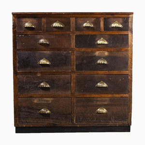 English Shop Counter Chest of 12 Drawers, 1940s