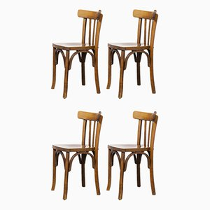 French Bentwood Dining Chair by Marcel Breuer for Luterma, 1950s, Set of 4