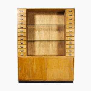 Big Birch Chemists Display Cabinet and Shelving Unit, 1950s