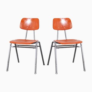 Red Stacking School or University Dining Chair, 1960s, Set of 2