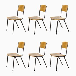 English Metal Frame Stacking School Dining Chairs, 1970s, Set of 6