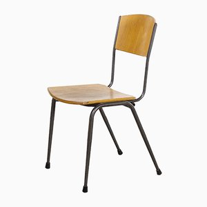 English Metal Frame Stacking School Dining Chairs, 1970s, Set of 8
